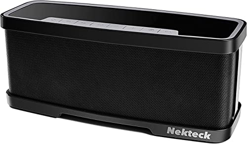 Nekteck NK-S1 Bluetooth Speakers 2.1 Channel Wireless Portable Speaker with Mic, Stereo 20W Premium Audio from 10W Drivers, 10W Subwoofer and Dual Passive Radiators, 2 Mode Equalizer – Black