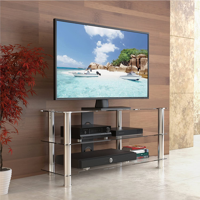 Kitchen Tvs Glass Tv Stands Poundex F4298 Black Glass Tv Stand Marabel Black