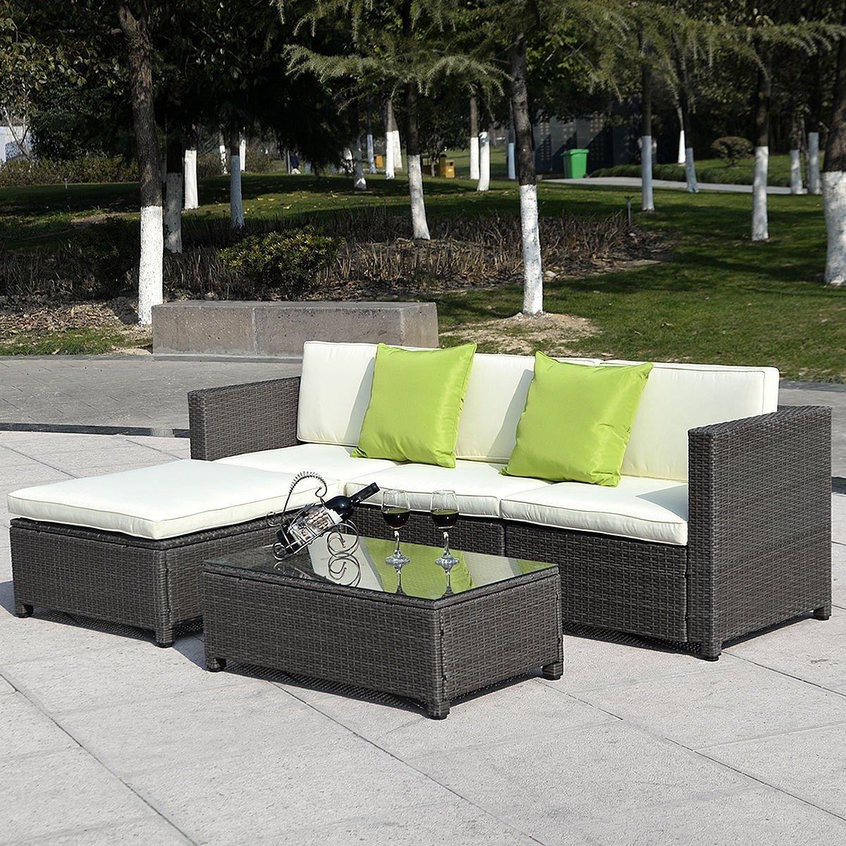 Amazoncom Goplus5PC Outdoor Patio Sofa Set Furniture PE Wicker