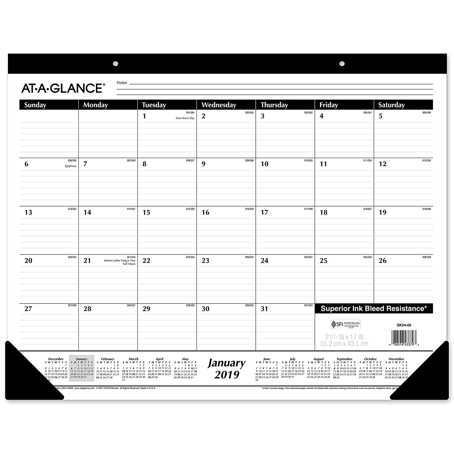 AT-A-GLANCE 2019 Monthly Desk Pad Calendar, 22 x 17, Standard, Ruled Blocks (SK2400) 22 x 17 ACCO Brands SK240019