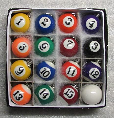 Amazon.com   1 Inch w CUE Que Box of 16 POOL BALLS Billiard Snooker KEY  CHAIN Ring Keychains NEW   Everything Else 9d5083484e2c