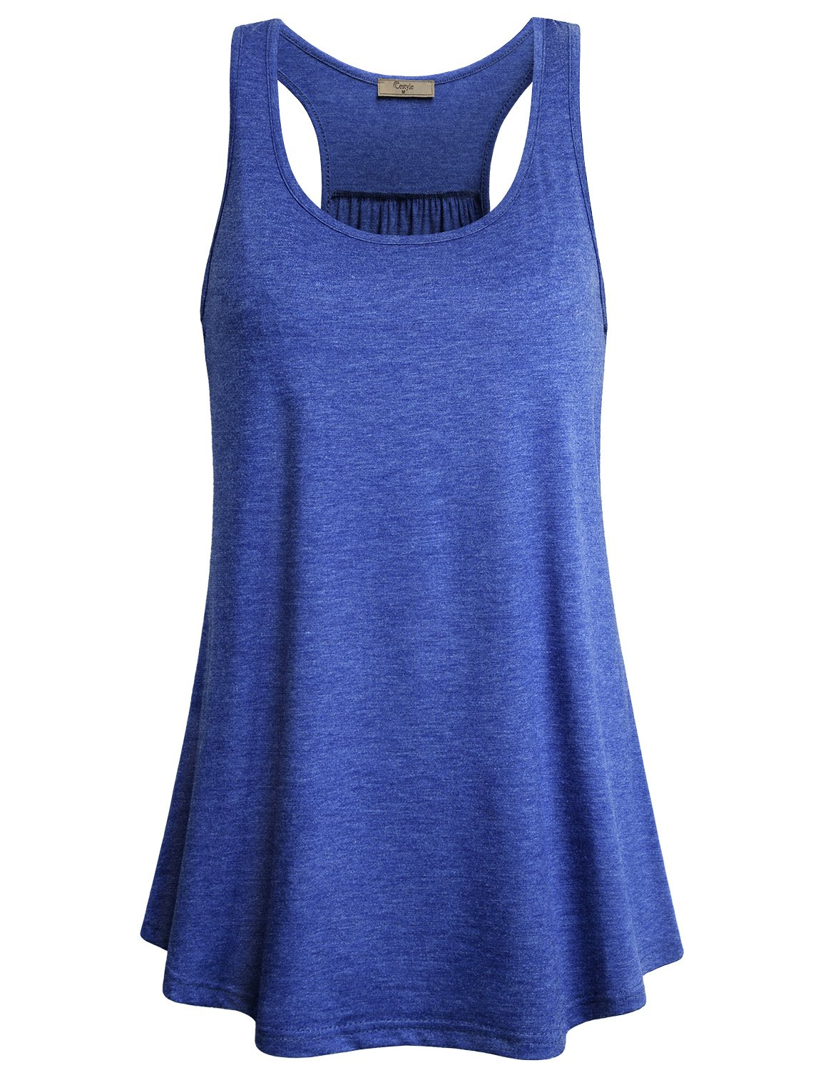 Cestyle Athletic Tank Tops for Women Loose Fit, Girls Scoop Neck Summer Flows Hem Tunic Tee Workout Racerback Tanks Casual Form Fitting Sleeveless Shirts Going Out Clothing Blue X-Large