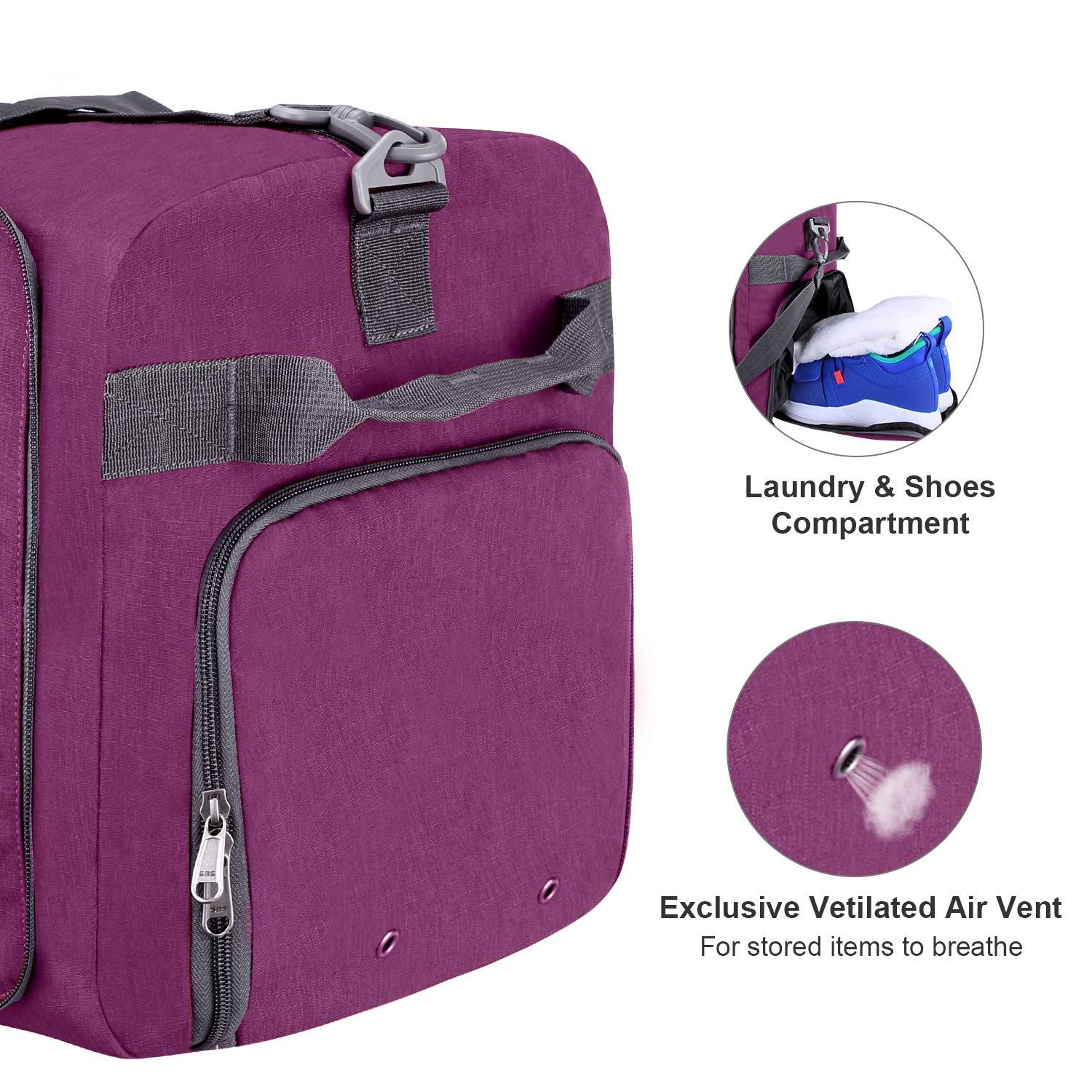 Foldable Weekender Bag with Shoes Compartment for Men Women Water-proof /& Tear Resistant Canway 65L Travel Duffel Bag Lavender Purple, 65L