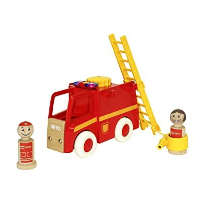 Brio World - 30383 My Home Town Light & Sound Firetruck | 5 Piece Firetruck Toy with Accessories for Kids Ages 18 Months and Up: Toys & Games