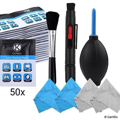 Juego de Limpieza para Lentes de Cámara – Soplador de aire, cepillo de limpieza, 2 en 1 lente de limpieza de pluma, 50 envueltos individualmente toallas húmedas y 5 Paños de Microfibra – Manti