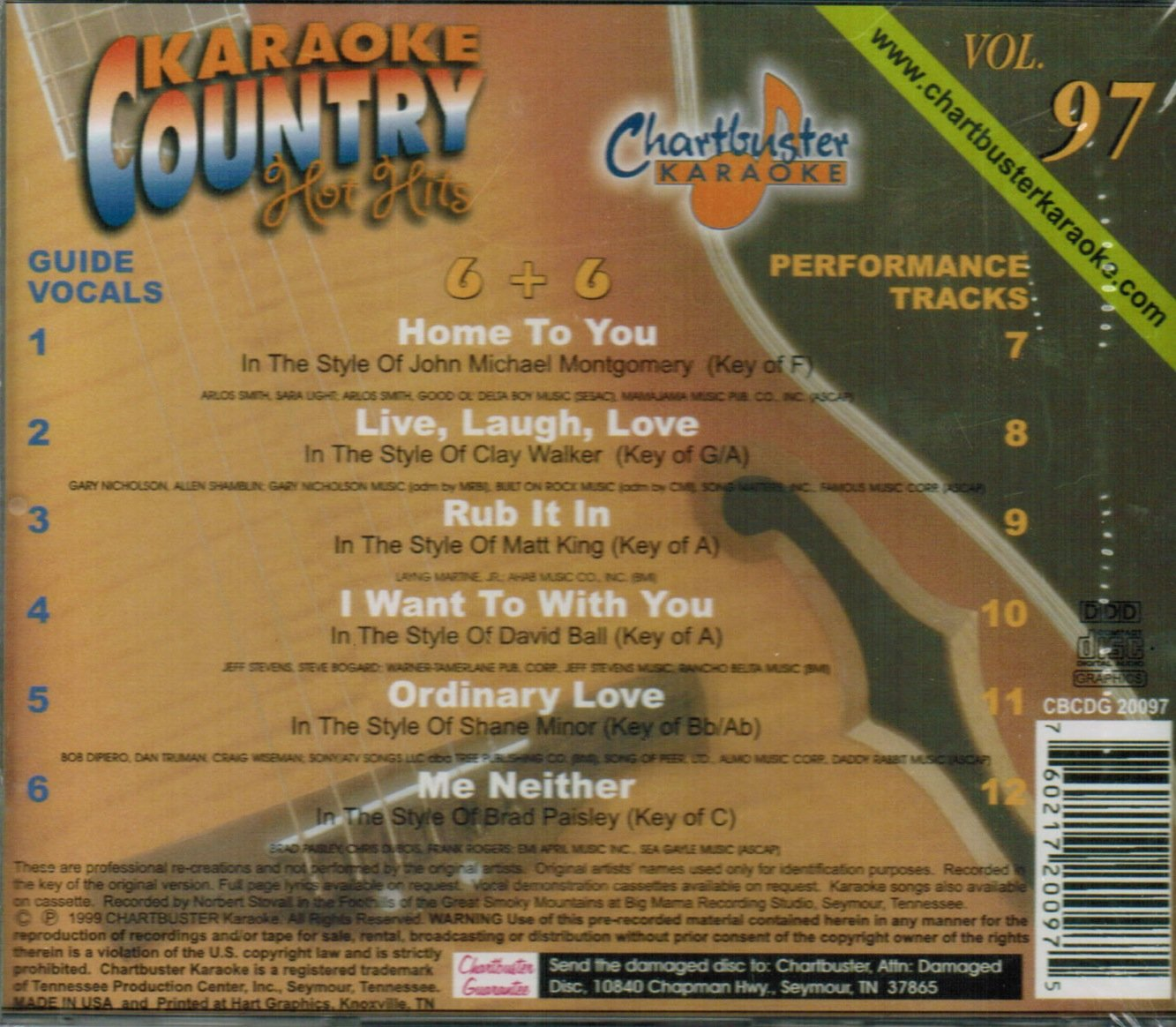 Chartbuster Karaoke Country Hot Hits Vol 97 by