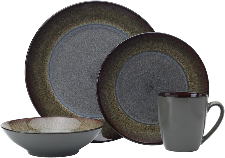 Pfaltzgraff Monroe 16-Piece Porcelain Dinnerware Set, Service for 4, Dark Gray
