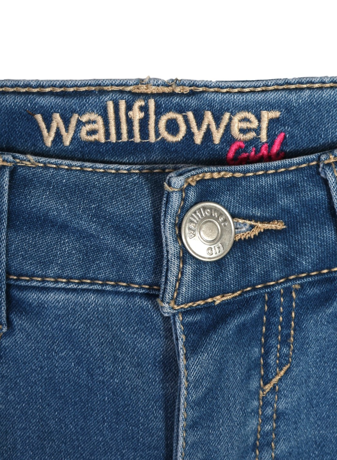 WallFlower Girl's Skinny Soft Stretch Jeans with Rips and Tears, Light Wash/Floral 8 by WallFlower Jeans (Image #2)