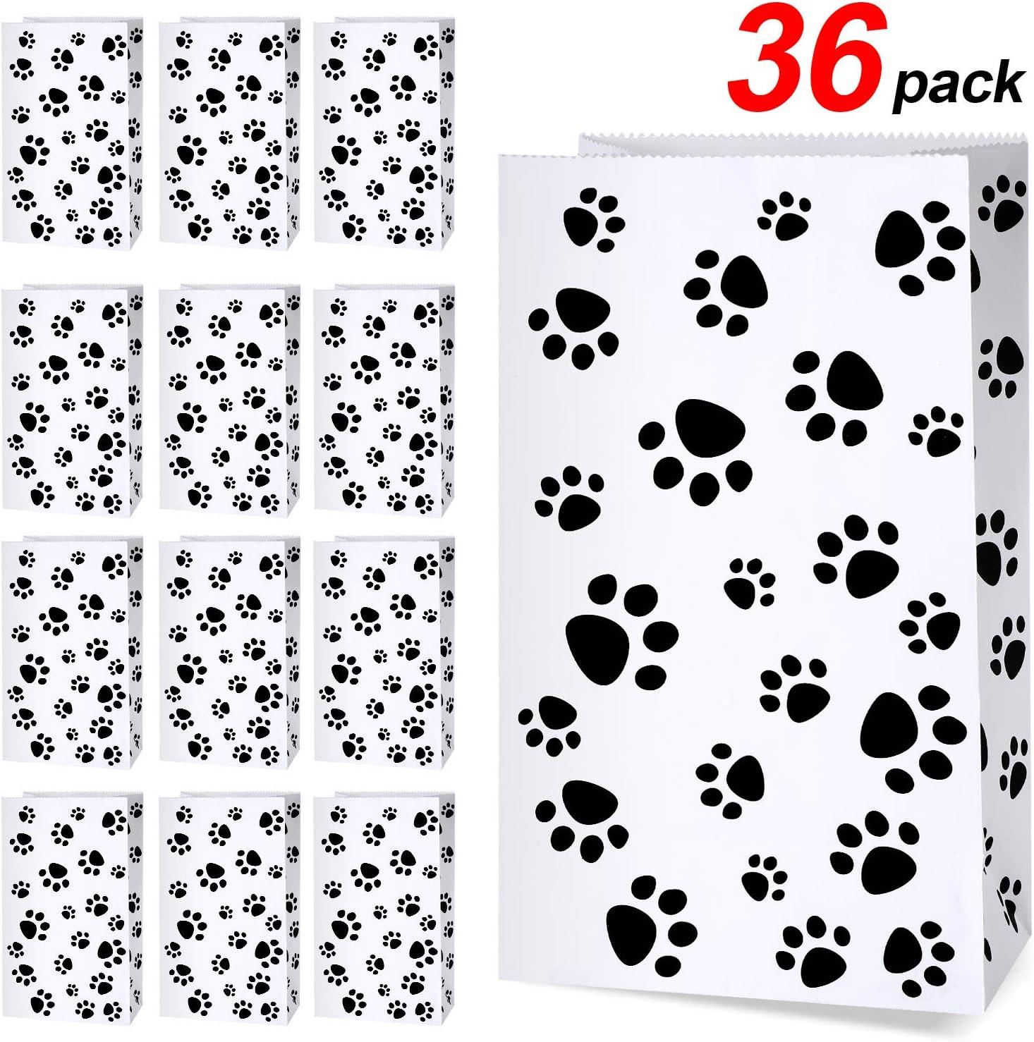 Bolsa de Regalo con Patrón de Patas de Perro Bolsa de Papel de Tratamientos Bolsa de Gato para Favores de Fiesta de Mascotas, 36 Piezas