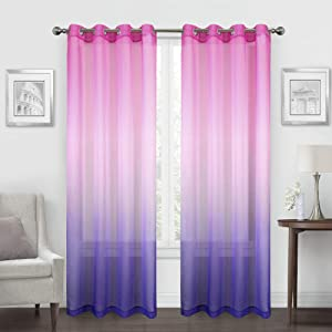 Annlaite Window Curtains, Mermaid Sheer Curtains for Bedroom Girls Room Decor, Ombre Window Semi Short Sheer Curtains for Mermaid Room Girly Nursery Kids Decoration 52 x 84 inch Inch Length,Set of 2