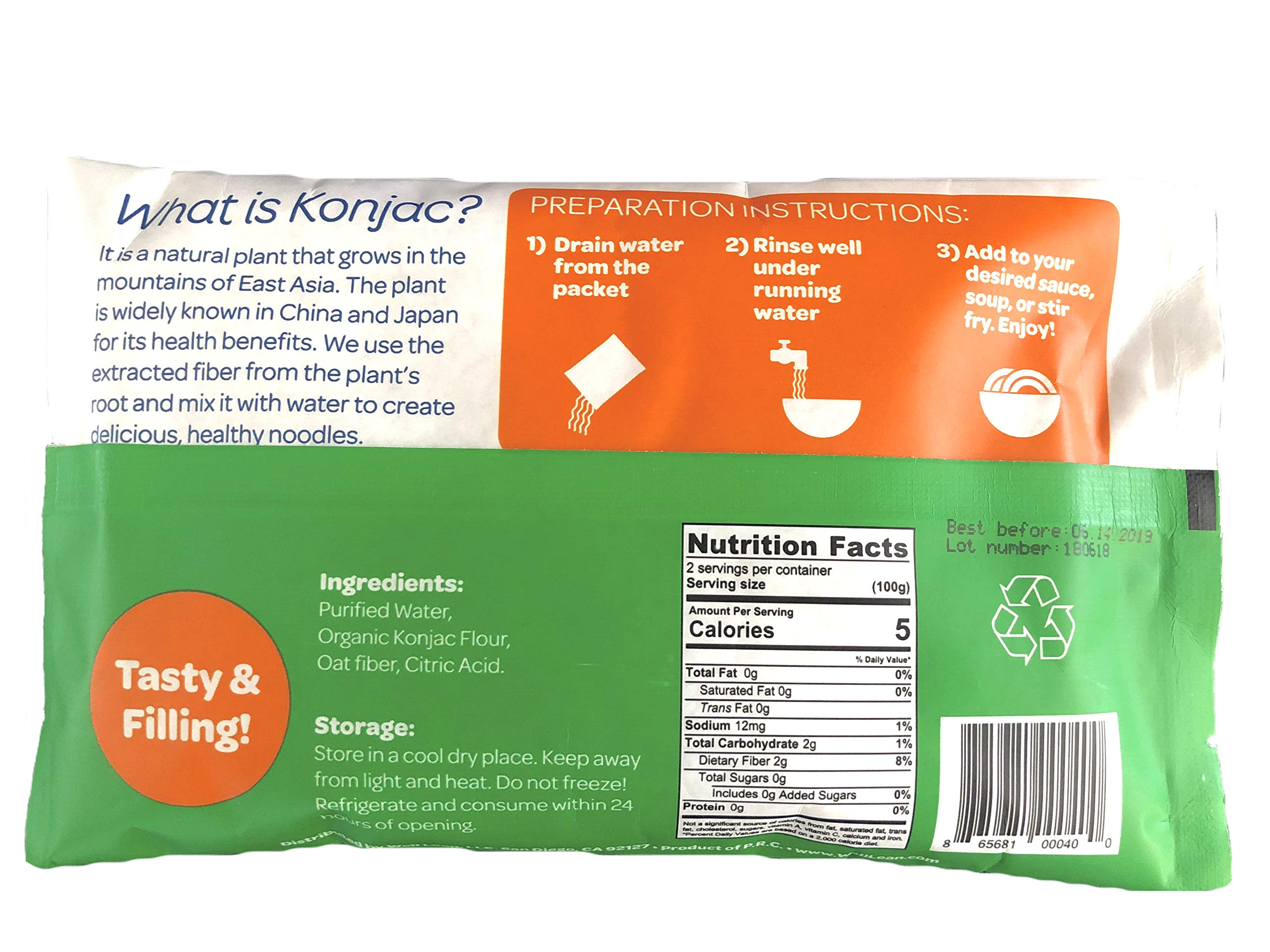 Organic Well Lean Noodles 6 Pack 9 52 Oz Premium Shirataki Konjac Pasta Odor Free Keto