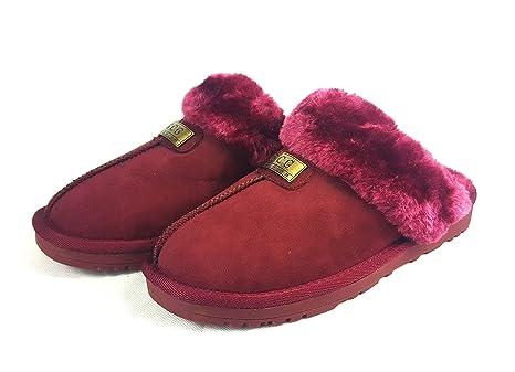 Zapatillas de casa de piel de oveja de imitación para mujer, original de