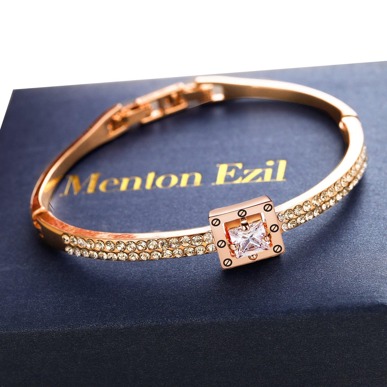 Menton Ezil Princess Crystal Bracelet Rose Gold Luxury Jewelry Adjustable Bangle Bracelets for Womens Girls Wife Anniversary Fashion Collections Loves Design by Menton Ezil (Image #7)