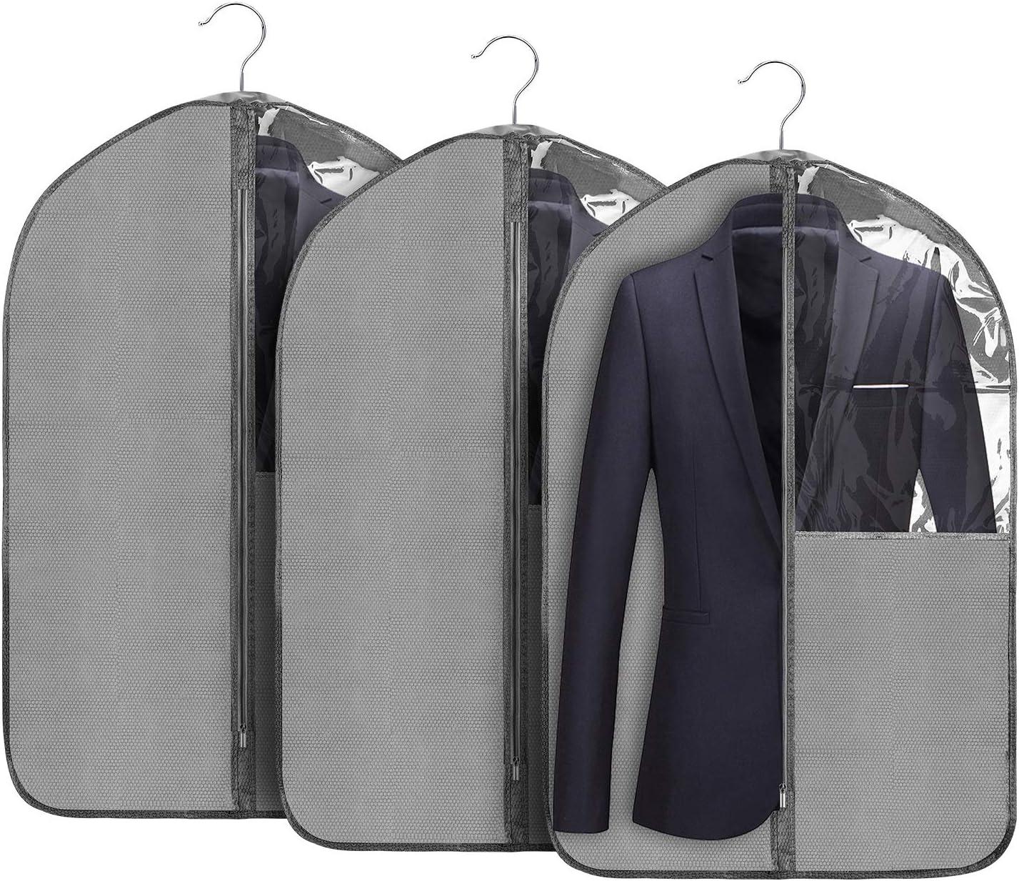 Jorlyen Housse de V/êtements Pliable Housse de Costume Manteaux avec Fen/être Transparente et Anti-poussi/ère Protection 24  x 53 135 x 60 cm 2 pcs Housse Protection pour Longue Robe V/êtement