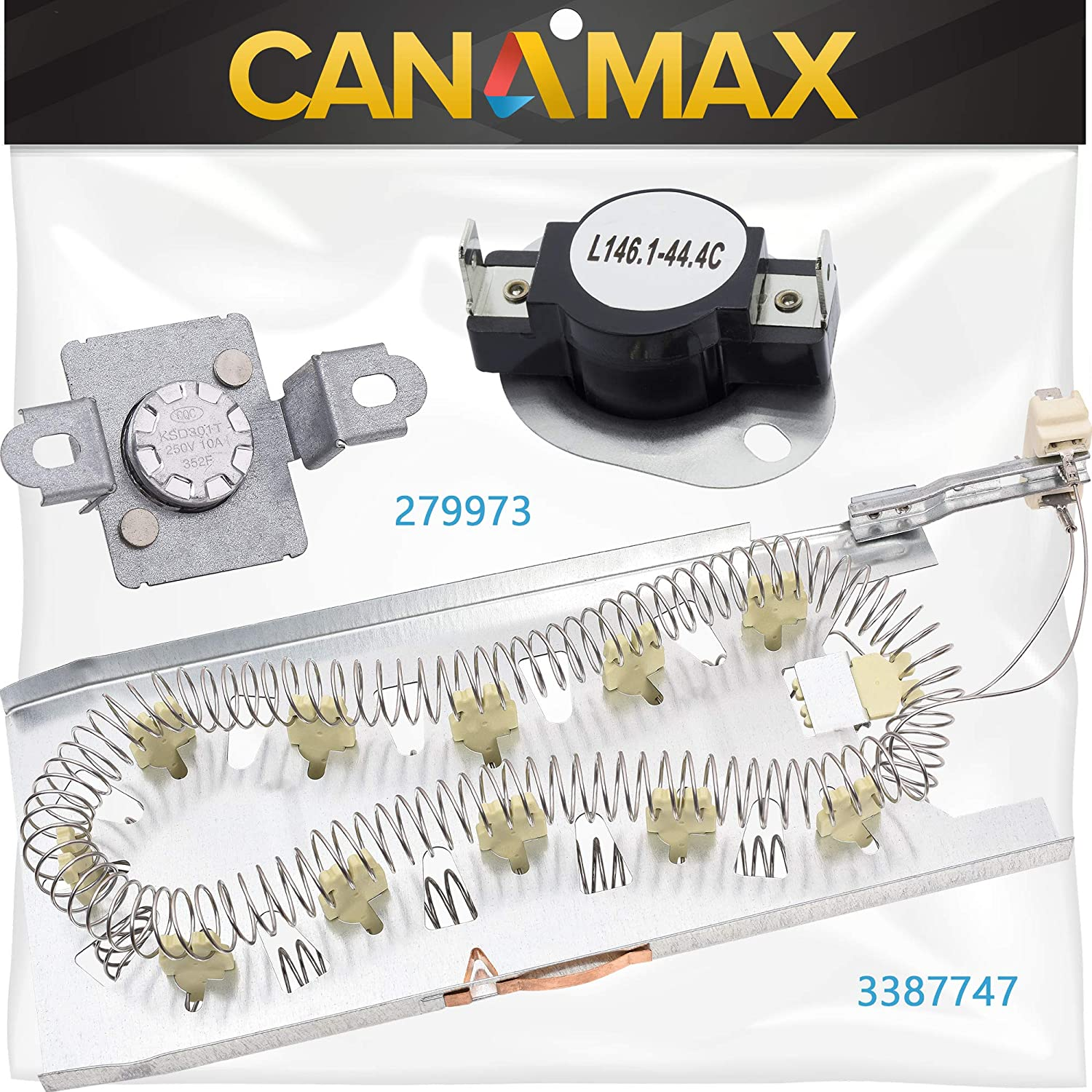 NEW 3387747 & 279973 Dryer Heating Element with Dryer Thermal Cut-off Fuse Kit Premium Replacement by Canamax - Compatible with Whirlpool Kenmore Dryers