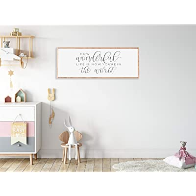 Promini How Wonderful Life is Now You're in The World Wood Framed Sign, Nursery Room Decor, How Wonderful Nursery Sign, Nursery Sign Crib, Newborn, 12x22 Inch Wooden Sign Wall Art Home Decor: Home & Kitchen