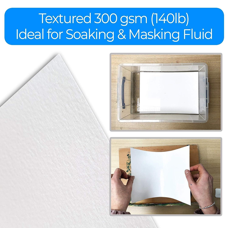 Include foglio di punta per principianti 300 g // m/² orizzontale di Zieler Ideale per ammollo e mascheratura 50 fogli Prodotto nel Regno Unito Blocco di carta per acquerelli pregiati A3