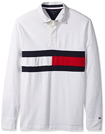 5fe546548ecc Tommy Hilfiger Men's Big and Tall Long Sleeve Polo Shirt with Rugby Flag, Bright  White