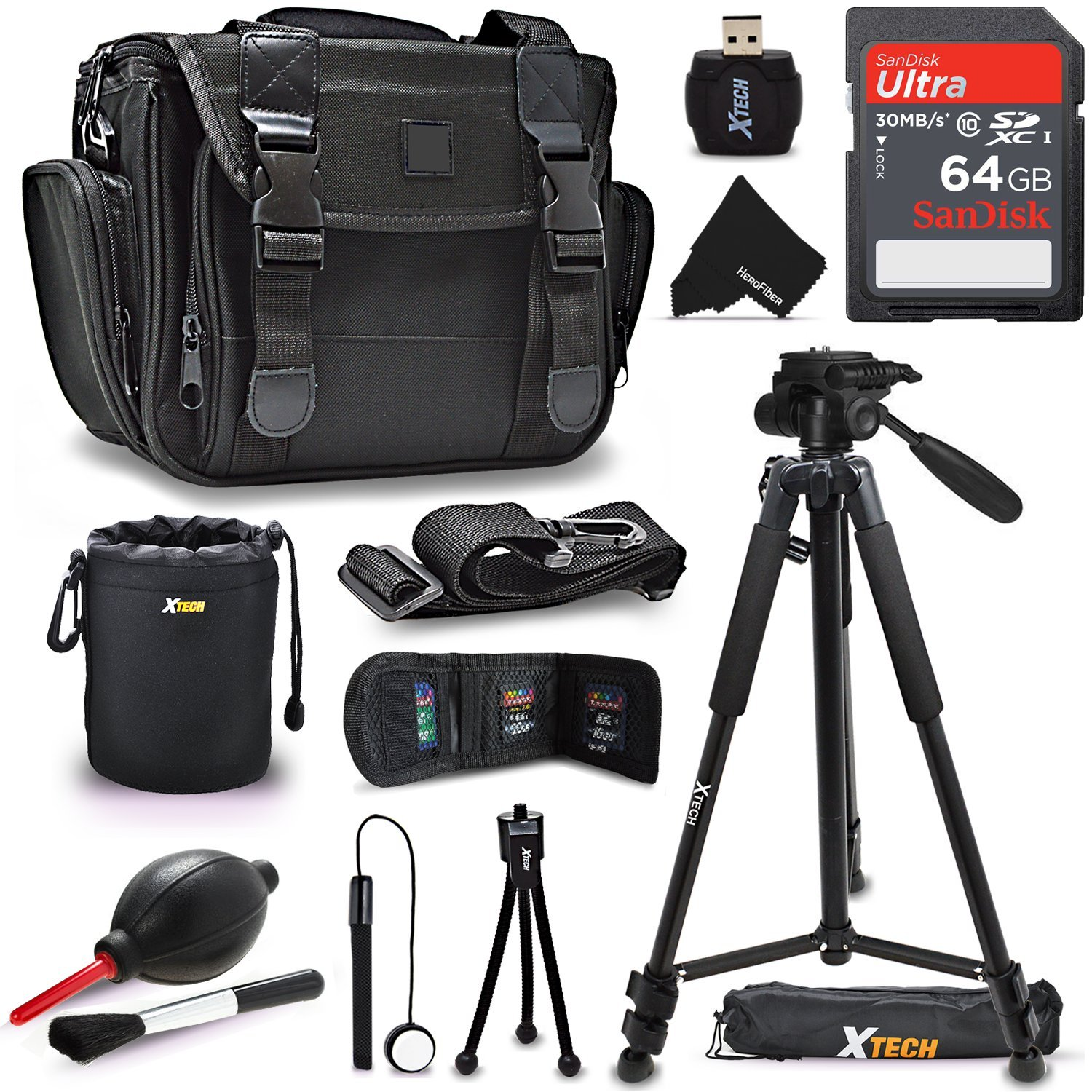 """Premium Well Padded Camera CASE / BAG and Full Size 72"""" inch TRIPOD Accessories KIT f/ Canon EOS Rebel T7i T6i T6S T5i T5 EOS 80D 70D 60D 7D 6D 5D, 7D Mark II 760D 750D (64GB Accessories Kit)"""