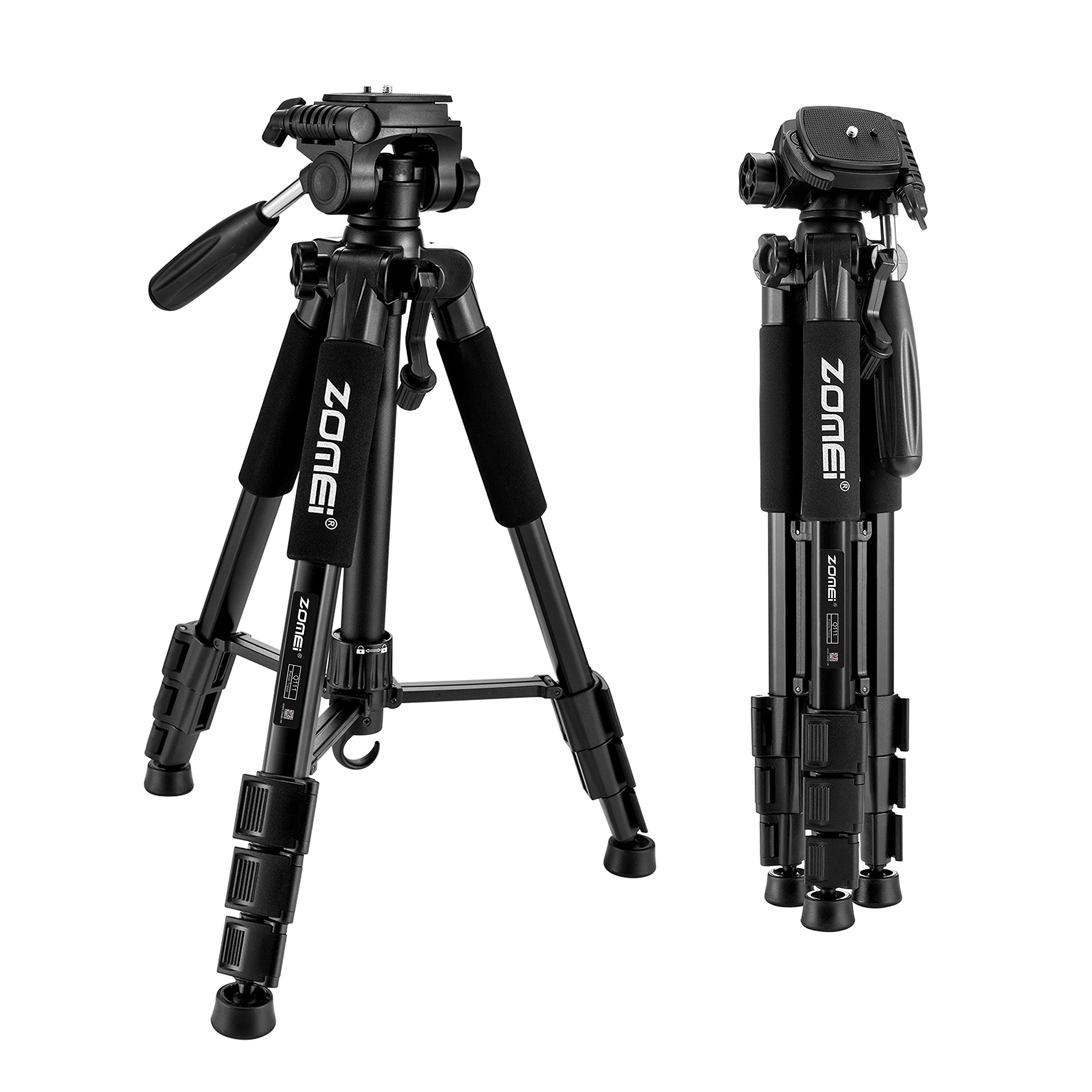 ZOMEI 55'' Compact Light Weight Travel Portable Folding SLR Camera Tripod for Canon Nikon Sony DSLR Camera with Carry Case(black)