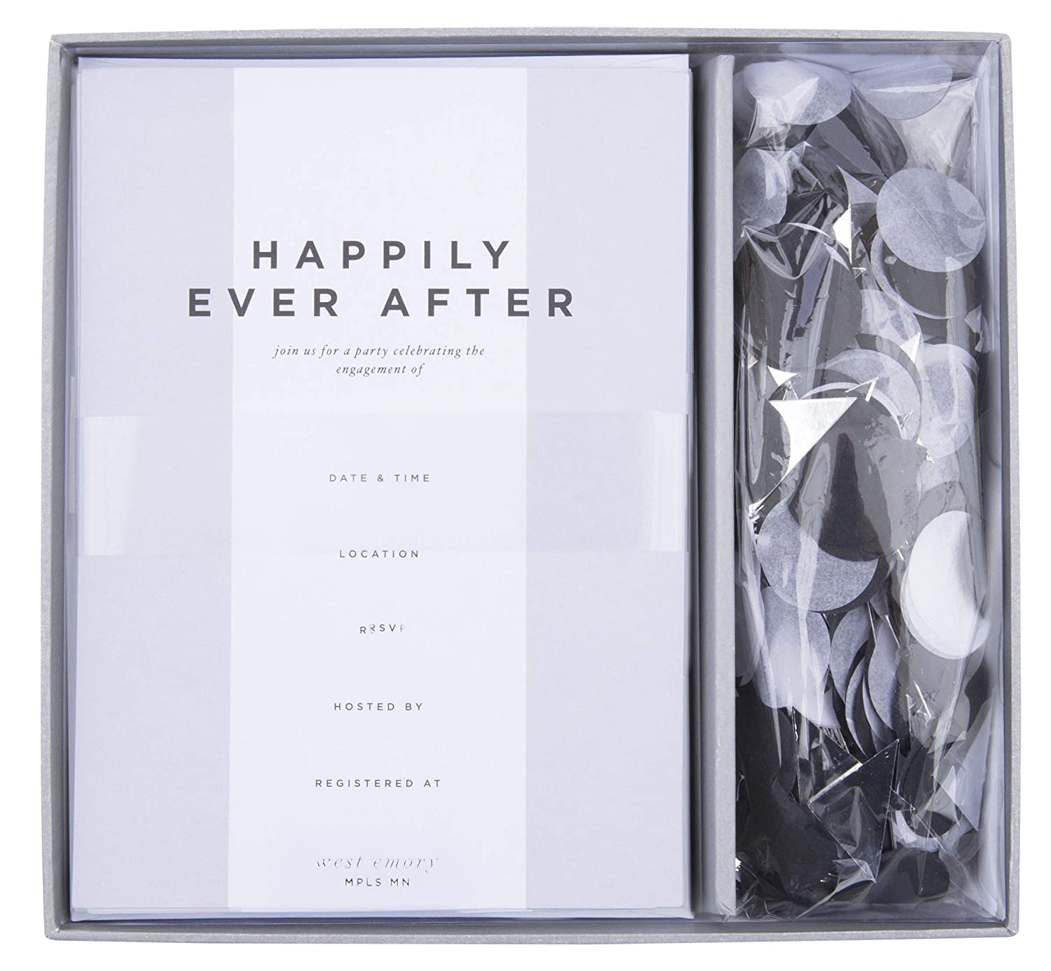 West Emory Emote Collection Happily Ever After Engagement Party Invitation Kit with Confetti 12 5 x 7 Cards and Envelopes