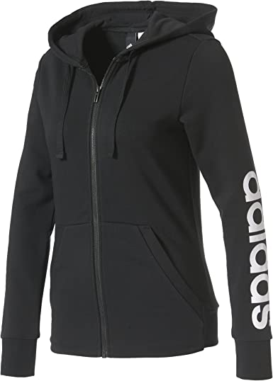 adidas Womens' Essentials Linear Full Zip Hoodie Jacket