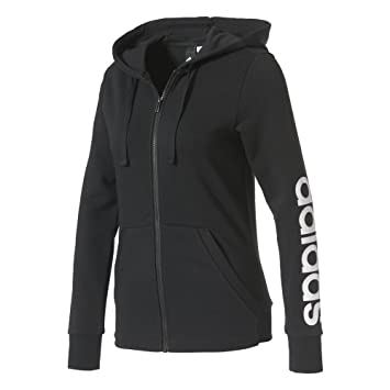 adidas Damen Essentials Linear Sweatshirtjacke, Schwarz (Black/White), 2XS