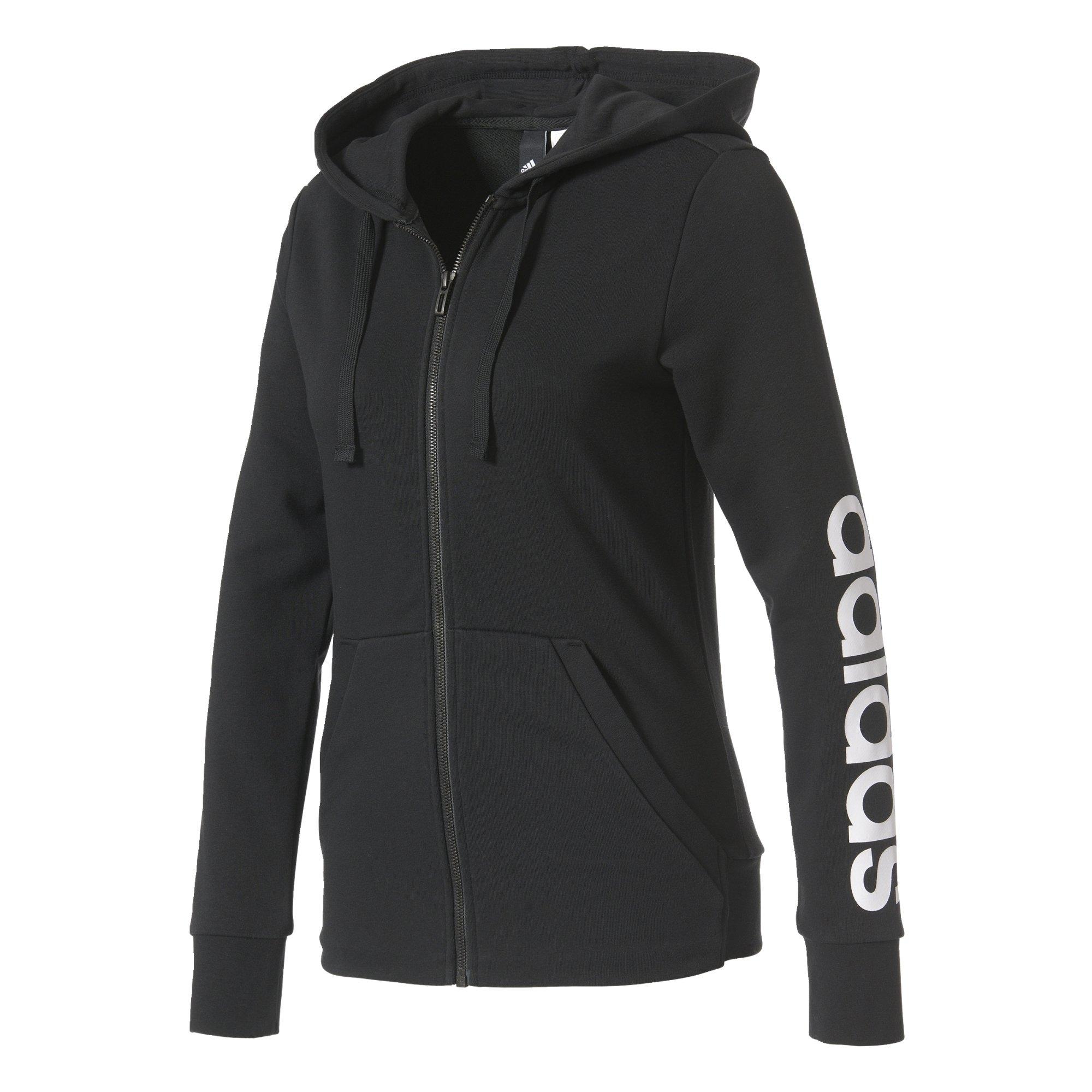 adidas Essentials Linear Full Zip Hoodie (Black, XS) by adidas (Image #1)