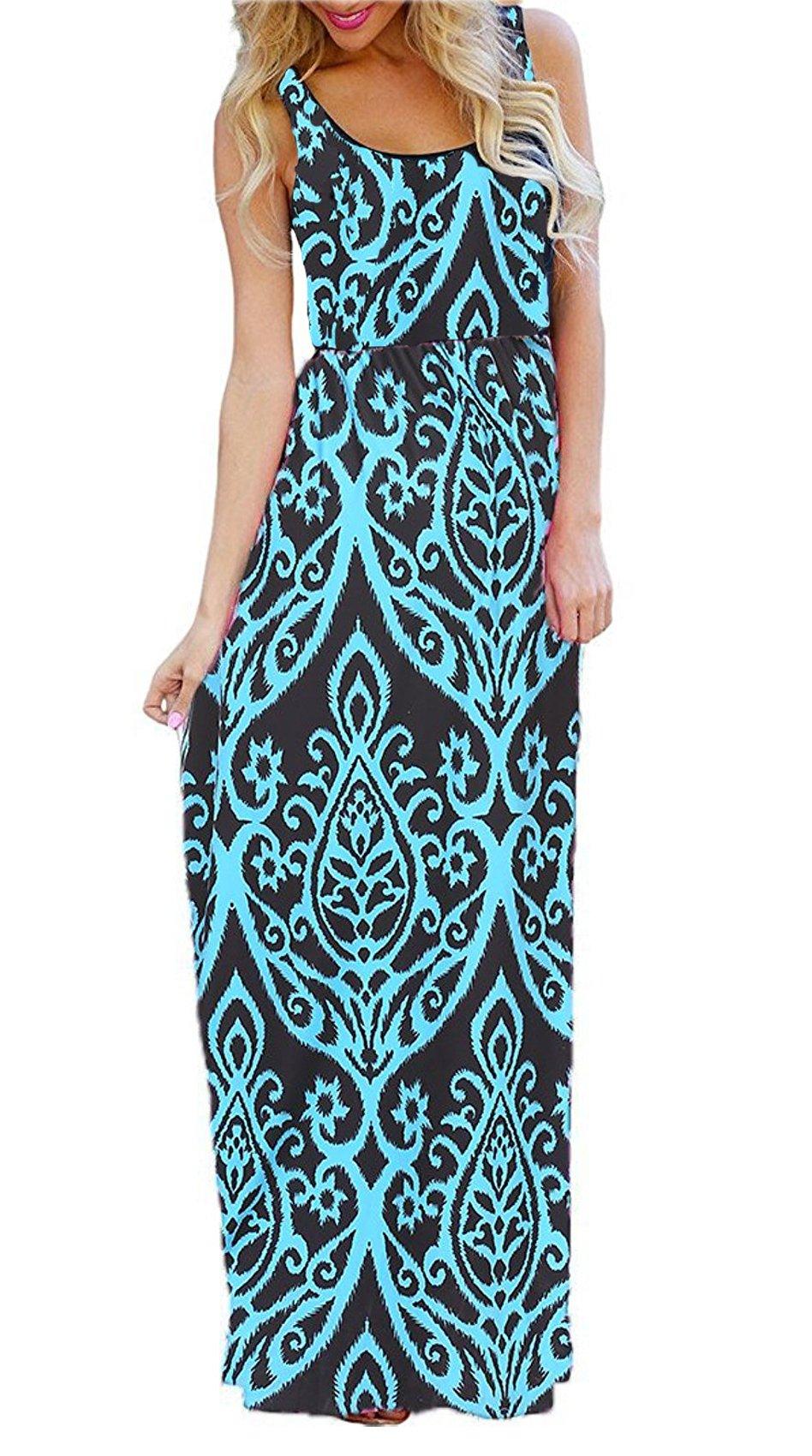 BLUETIME Sundresses for Women Casual Summer Vintage Floral Print Maxi Long Dress Blue L