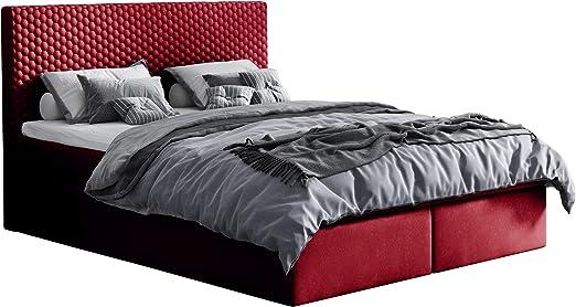Cama con somier Bavaria, cama tapizada con 2 cajones, cama ...