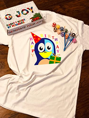 G JOY Handmade Art Gift DIY Kits Paint By Numbers Unisex Adult T Shirt Next Level Acrylic Non Toxic Paints Brushes Box PrintHappy Birthday Penguin