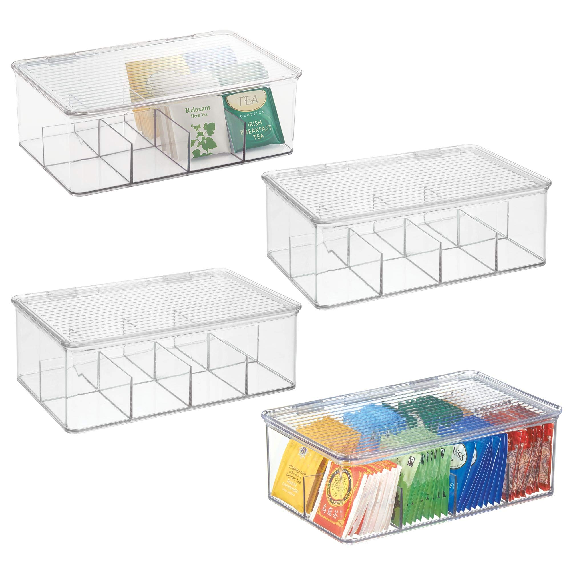 mDesign Stackable Plastic Tea Bag Organizer Storage Bin Box for Kitchen Cabinets, Countertops, Pantry - Hinged Lid - BPA Free, Food Safe - Holds Beverage Bags, Cups, Pods, Packets - Pack of 4, Clear