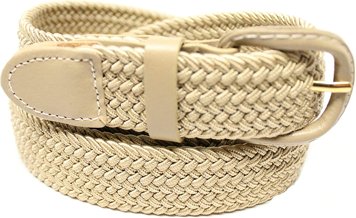 DF Mens 1.25 BEIGE Braided Elastic Stretch Belt With Leather Covered Buckle