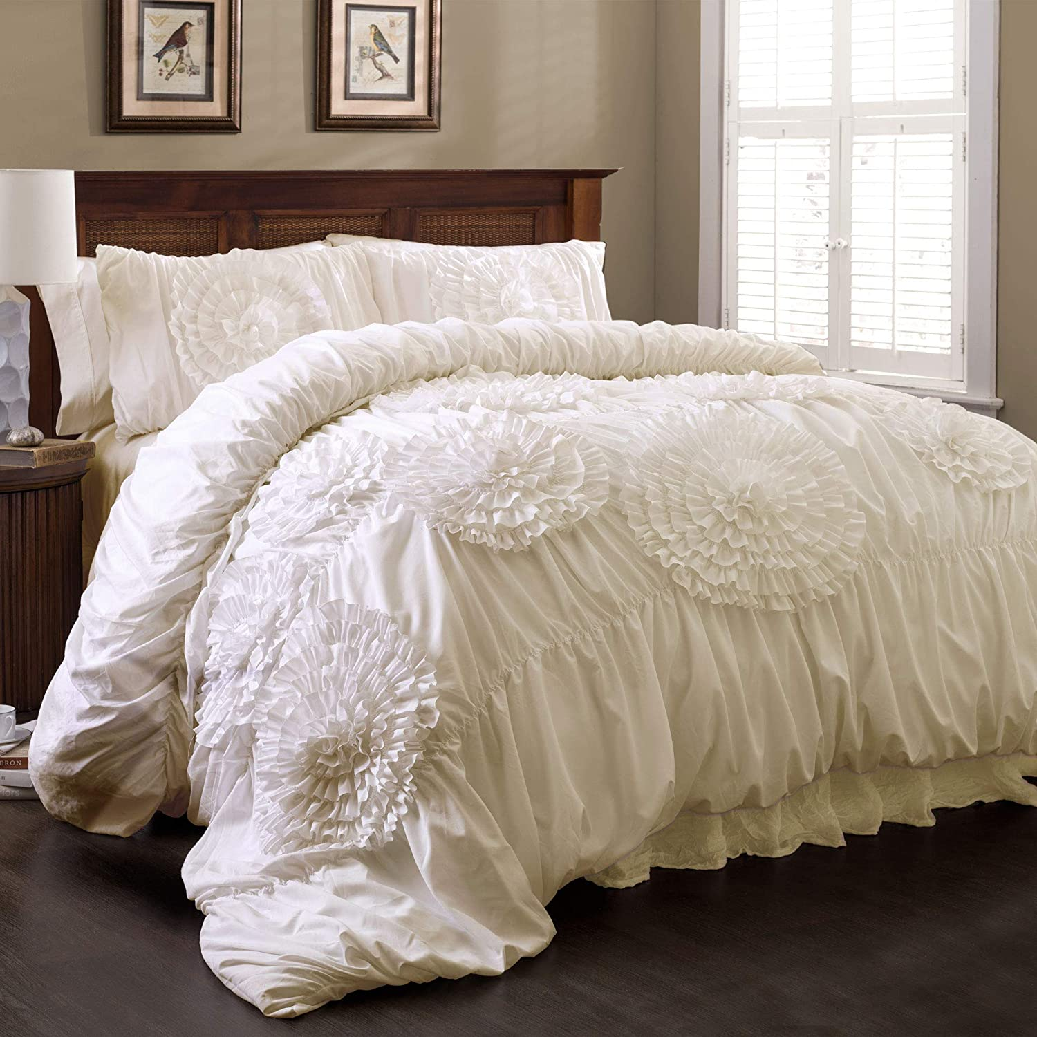 Lush Decor Serena Comforter Ivory Ruched Flower 3 Piece Set, King,