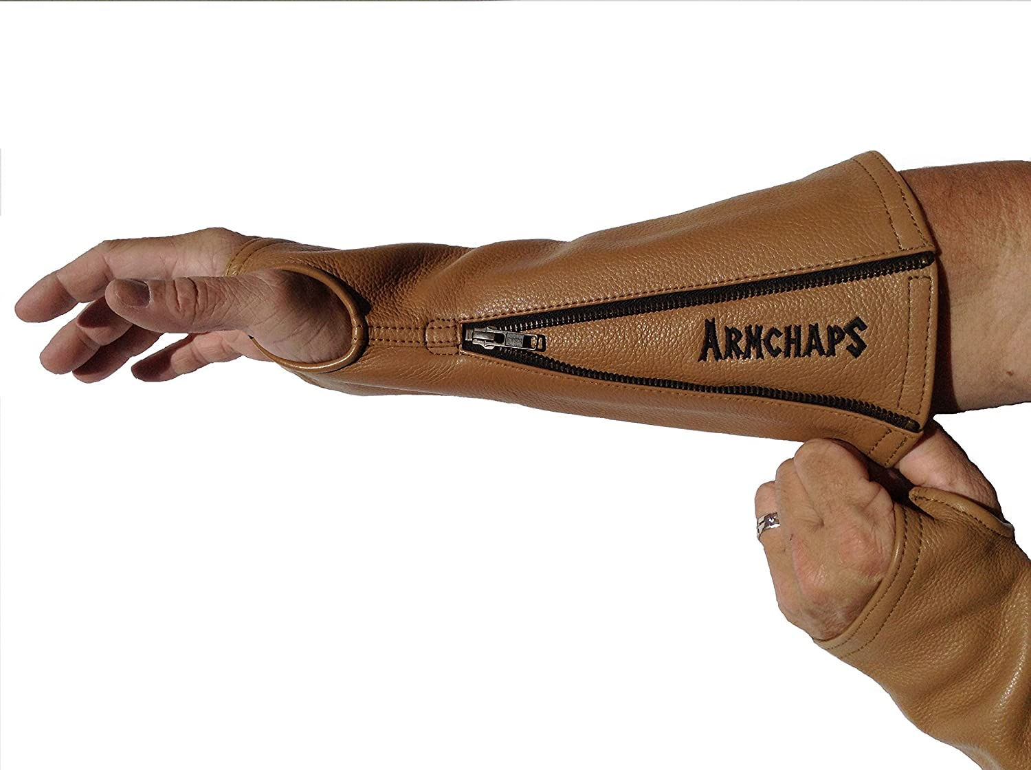 Arm Chaps Leather Protective Arm Guard Sleeves to Prevent Cuts, Scratches, Bruising & Protect Thin Skin. For Male & Female all ages. Brown (1 Pair/Large). Left & Right form-fitting.