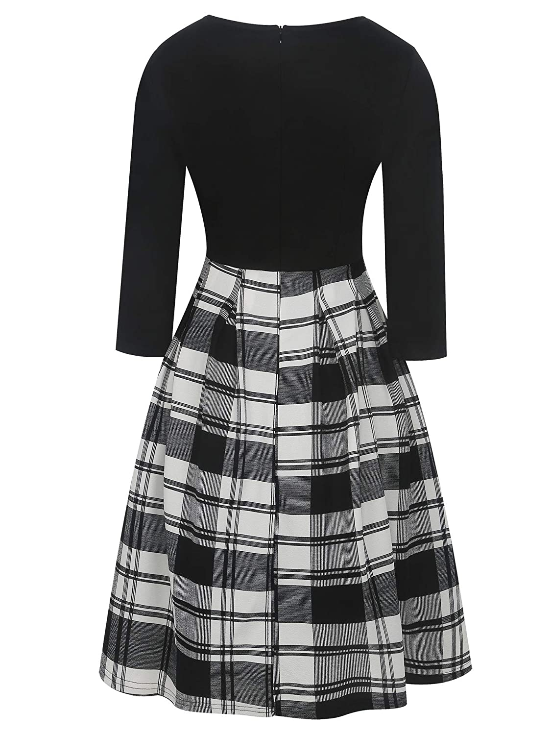 MERRYA Womens Vintage Plaid Stripe Print Casual Work Party Dress with Pockets