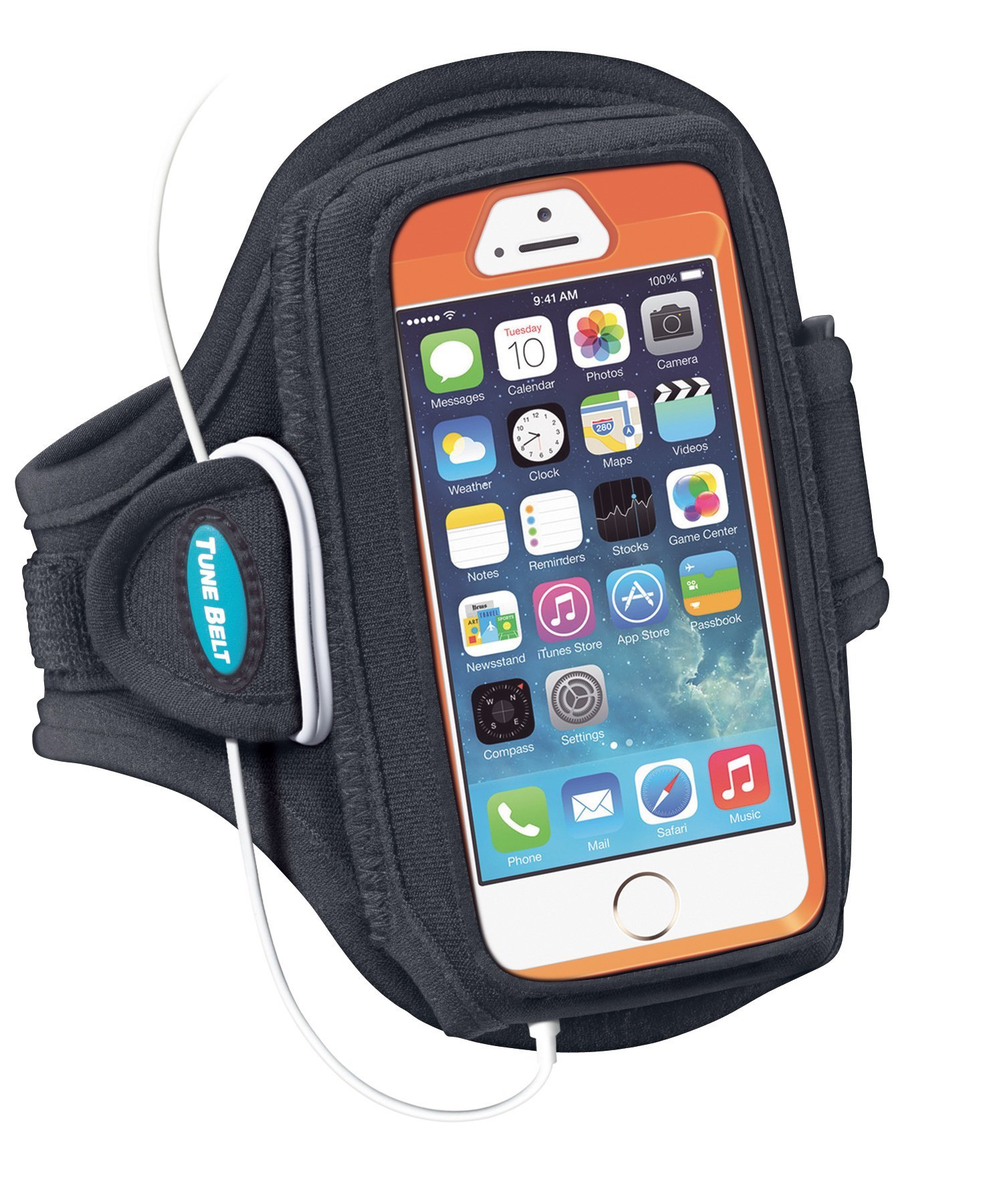 Armband for iPhone SE, 5, 5s, 5c, 4, 4S with OtterBox Defender, Commuter or Other Large Case – Great for Running & Working Out [Black] by Tune Belt (Image #4)