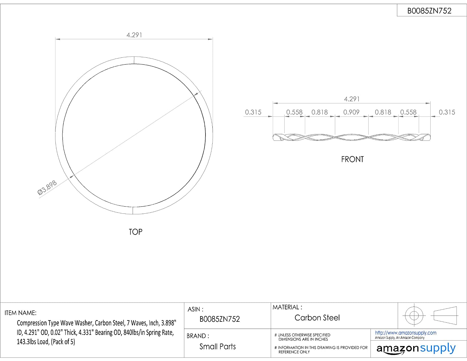 Inch Carbon Steel 0.02 Thick Compression Type Wave Washer Pack of 5 143.3lbs Load, 3.898 ID 3.898 ID 4.291 OD 0.02 Thick 4.331 Bearing OD Associated Spring Raymond W4291-020 4.331 Bearing OD 840lbs//in Spring Rate 4.291 OD 7 Waves