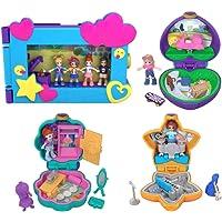 Polly Pocket Pack 3 Mini-Coffrets et Coffret Polly et ses Amis Prennent la Pose avec Mini-Figurines, Accessoires et Autocollants, Jouet Enfant, édition 2018, FXM65