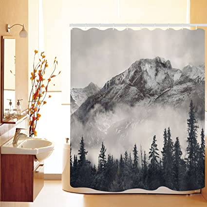Bathroom Curtain Sets | Amazon Com Bathroom Shower Curtain Foggy Forest Mountain Shower