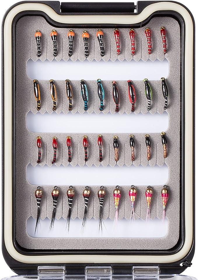 Pêche à La Mouche Mouches Kit Assortiment W BOX 36//64//72//80//96Pcs Dry//Wet Nymphes Streamer