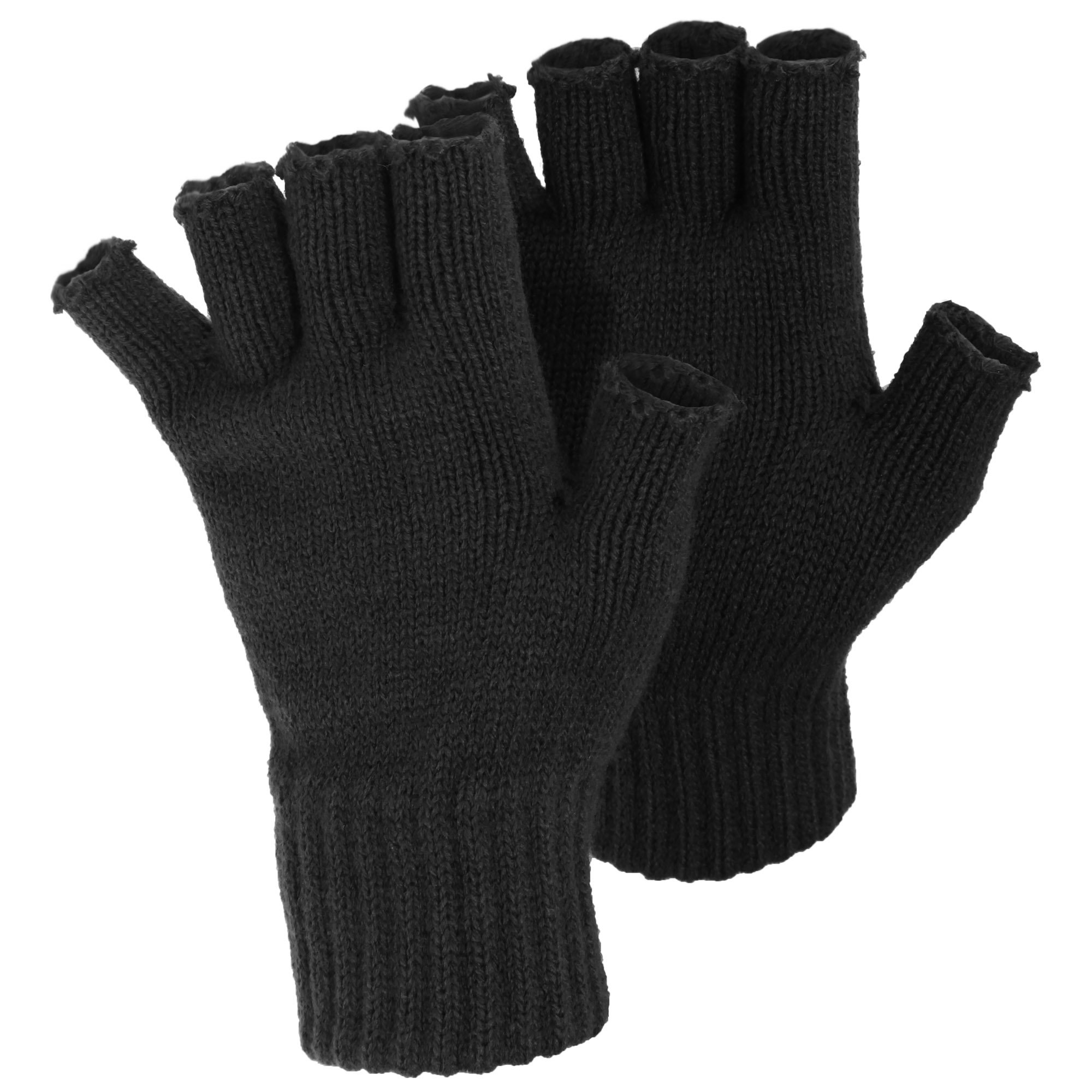 FLOSO Ladies/Womens Winter Fingerless Gloves (One Size) (Black)