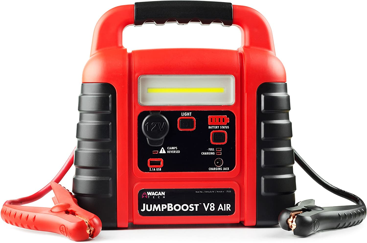 Wagan EL7552 Jumpboost V8 Air 1000 Peak Amps Jump Starter with 260 PSI Air Compressor, 1 Built-in DC Socket and USB Port