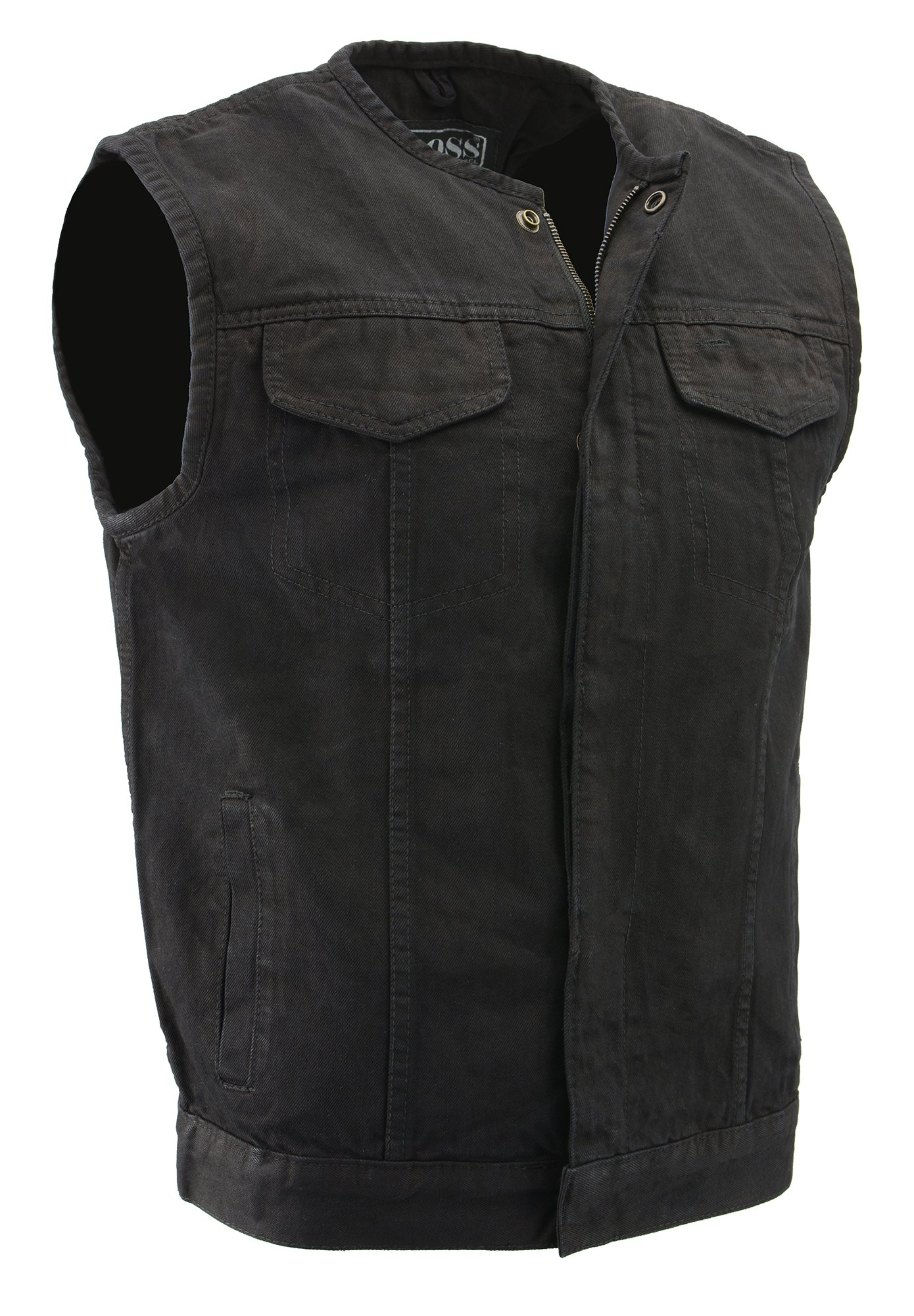 M-Boss Motorcycle Apparel-BOS13001-BLACK-Men's Collarless Denim Club Style Vest w/Hidden Zipper-BLACK-5XL
