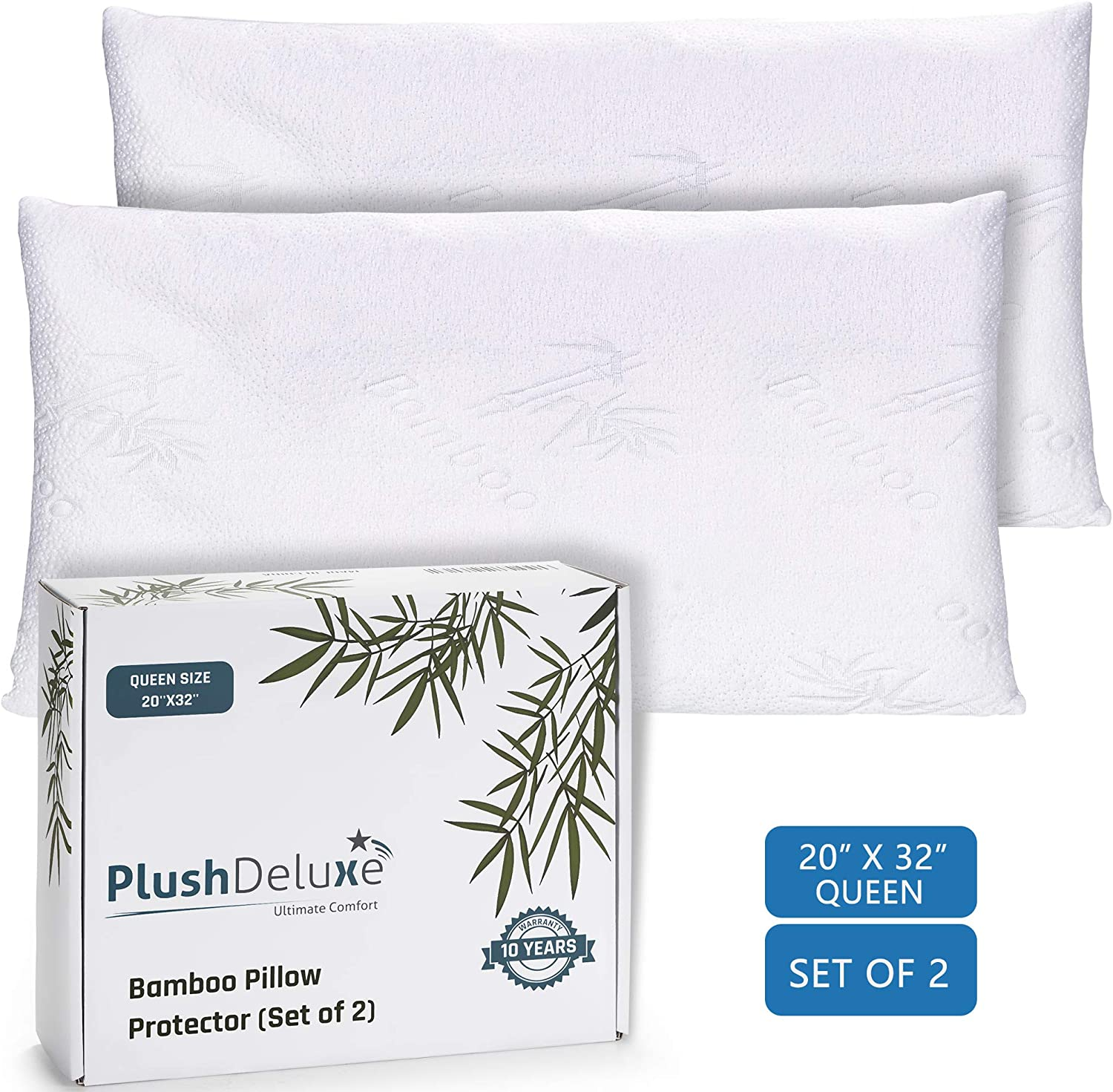 Premium Bamboo Queen Pillow Protector Covers - Waterproof, Allergy, Dust, Bed Bug, and Mite Proof Zippered Protectors - Pillowcase Zipper Cover Allergen Case Pack For Sleep Pillows - Set of 2