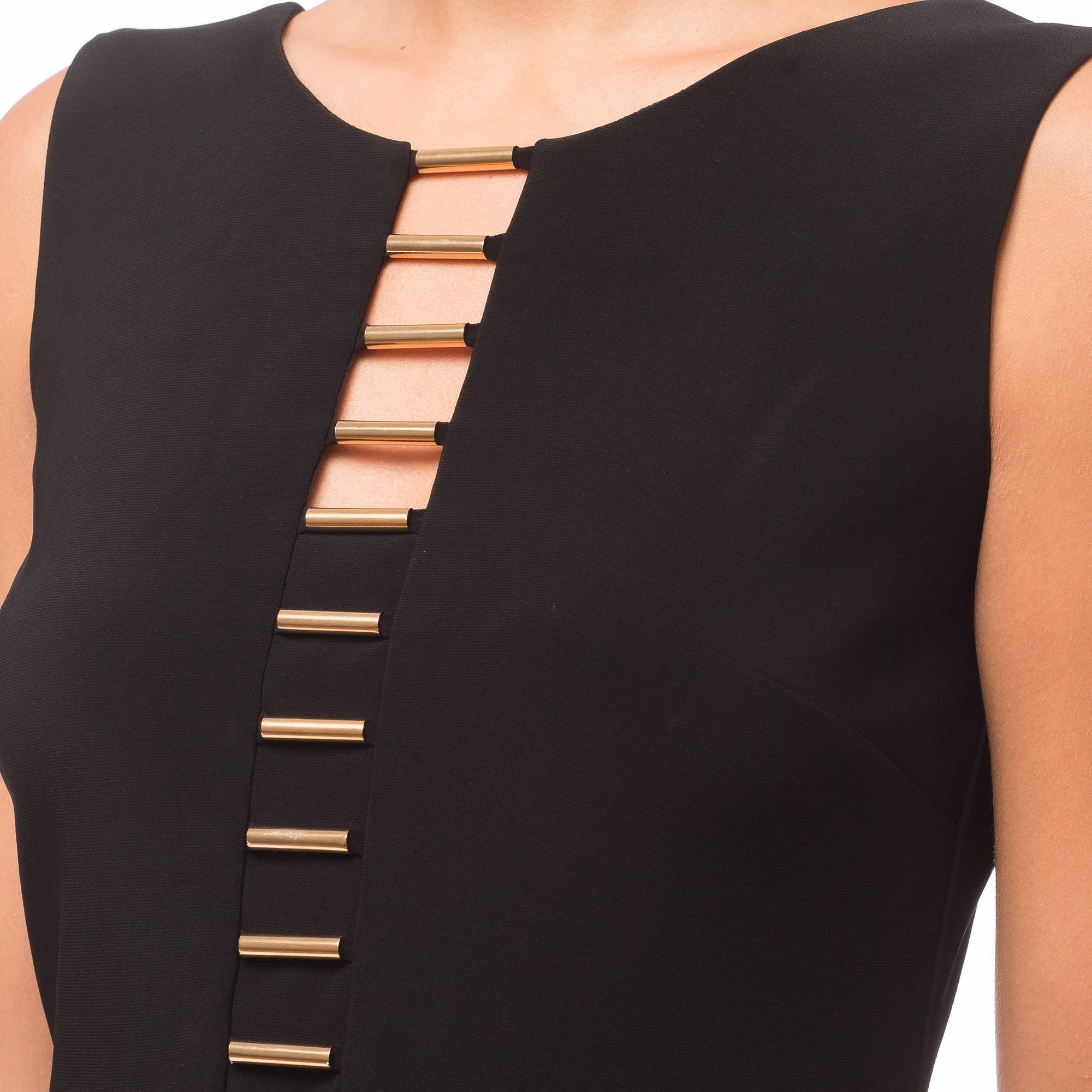 Joseph Ribkoff Goldtone Accent Sleeveless Black Sheath Dress Style 181035 Size 12
