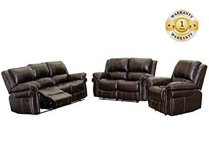 windaze Sectional Reclining Sofa Set 3 Pcs Sectional Bonded Leather Living  Room Recliner Set,6 Seats