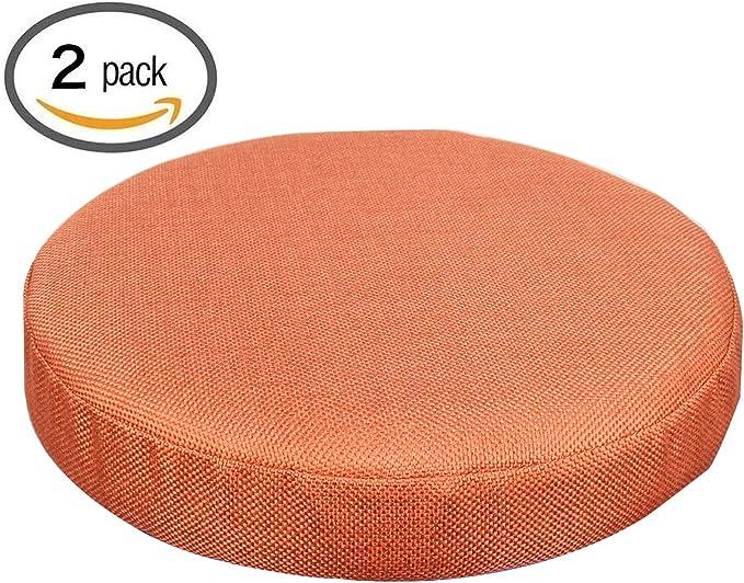 Nostalgico 13.77 inch Soft Linen Barstool Chair Cover Round Stool Cushion Set of 2 (Orange)