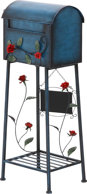不二貿易 メールボックス ローズ 横型 ブルー 棚付き 黒板付き 96760