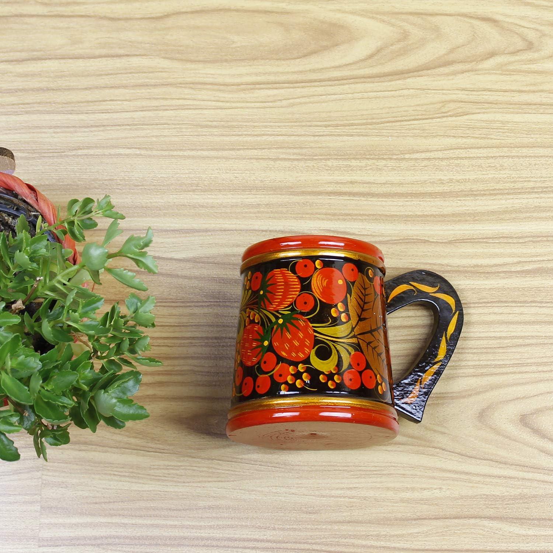 Khokhloma Tea Cup russe Set pour th/é traditionnel vaisselle Vintage r/étro classique Hohloma peint /à la main sovi/étique Folk Art fabriqu/é /à la main en Russie en bois cadeau naturel en bois laqu/é